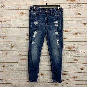 Hollister Crop High Rise Distressed Raw Hem Jeans